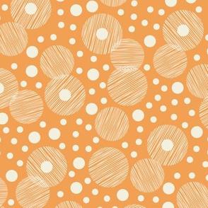 Retro Style Textured Off White Circles-Bubbles on Orange Background