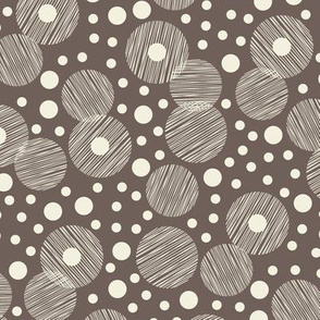 Retro Style Textured Off White Circles-Bubbles on Brown Background