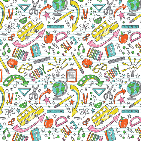 School Is Cool - Back To School White - Smaller Scale Option fabric by heatherdutton on Spoonflower - custom fabric
