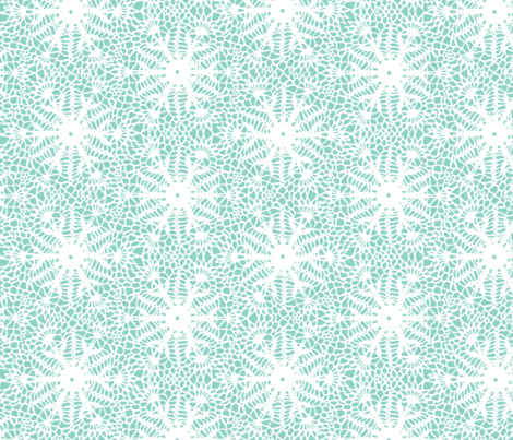 crocus snowflake sea green white fabric by whatever-works on Spoonflower - custom fabric