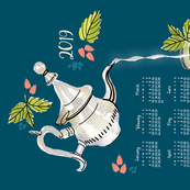 2019 Calendar, Sunday / Mint Tea
