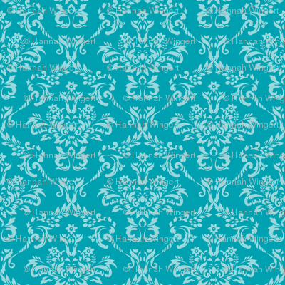 Two Toned Turquoise Damask