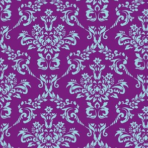 Purple and Aqua Damask
