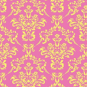 Pink and Yellow Damask