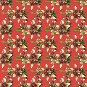 Dragon Lily on salmon tea towel