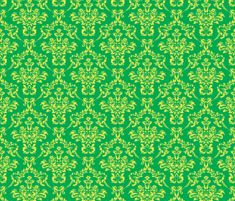 Green and Yellow Damask fabric by sunshineandspoons on Spoonflower - custom fabric