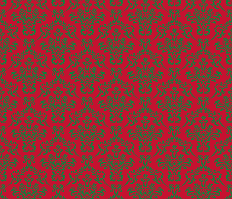 Red and Green Damask fabric by sunshineandspoons on Spoonflower - custom fabric