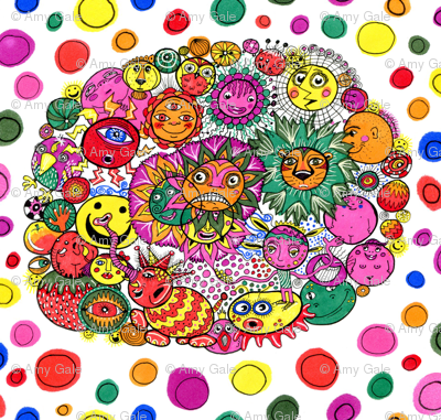 circle of circular stuff colorful doodle, large scale, white rainbow