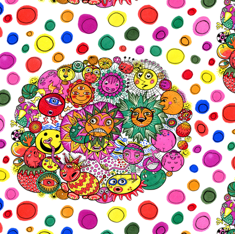 circle of circular stuff colorful doodle, large scale, white rainbow fabric by amy_g on Spoonflower - custom fabric