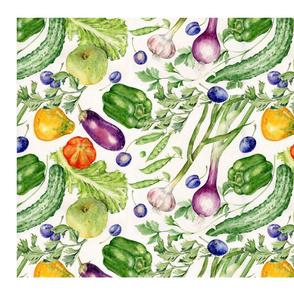 tea towel vegetables garden tales