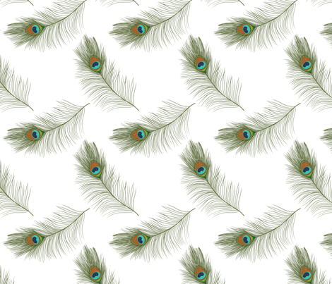 Small peacock feathers fabric by ellila on Spoonflower - custom fabric