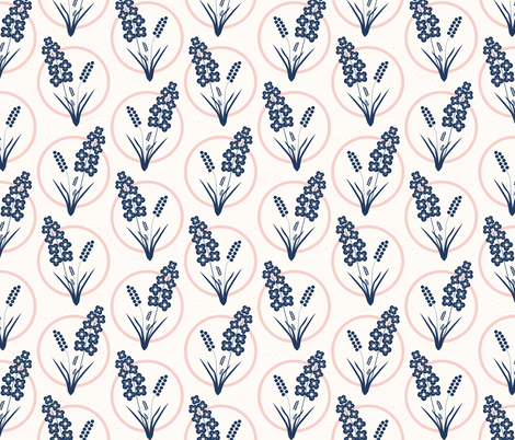 Ring Around the Posies: Navy & Rose Gold on Cream fabric by dept_6 on Spoonflower - custom fabric
