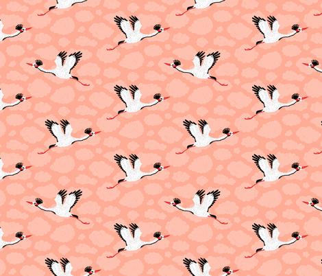 Cranes & Pink Clouds fabric by danlehman on Spoonflower - custom fabric