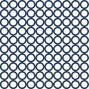 Round N Round: Navy & Cream Circle Grid