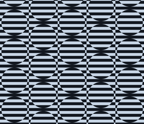 stripey circles are the new triangles charcoal and blue fabric by auntgoose on Spoonflower - custom fabric