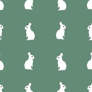 sitting rabbits - dark aquamarine