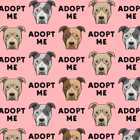 (slightly larger) adopt me - pit bulls on pink C18BS fabric by littlearrowdesign on Spoonflower - custom fabric