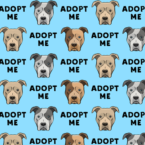 (slightly larger) adopt me - pit bulls on blue C18BS fabric by littlearrowdesign on Spoonflower - custom fabric
