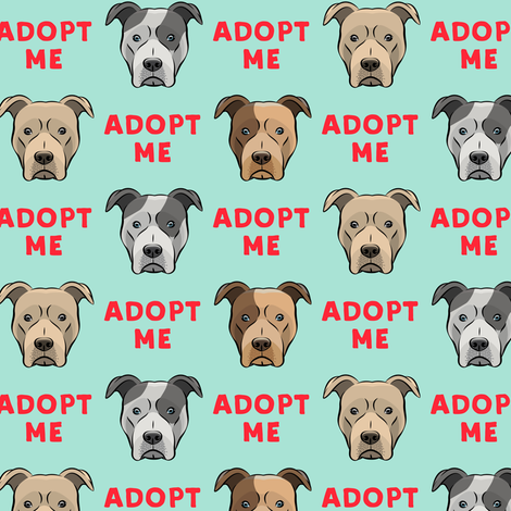 (slightly larger) adopt me - pit bulls on mint C18BS fabric by littlearrowdesign on Spoonflower - custom fabric