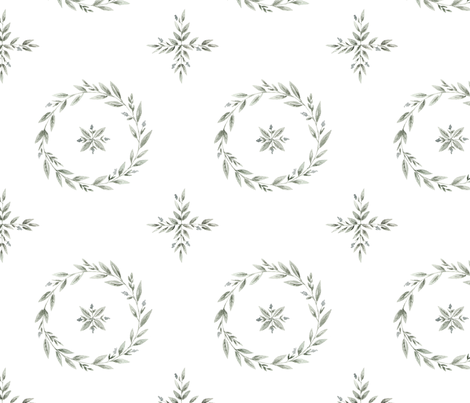 Circle Greenery Pattern fabric by coledawndesigns on Spoonflower - custom fabric
