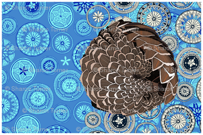 pangolin mandala blue tea towel