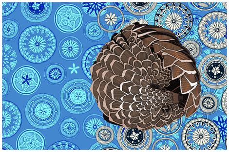 pangolin mandala blue tea towel fabric by scrummy on Spoonflower - custom fabric