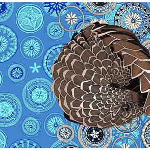pangolin mandala blue tea towel