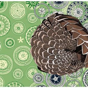 pangolin mandala leaf tea towel
