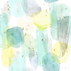 watercolor + stars abstract - teal  mint  yellow - small
