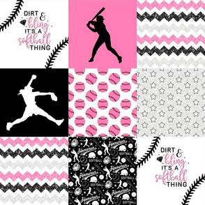 Softball//Dirt & Bling//Pink - Wholecloth Cheater Quilt