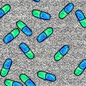 pills-green blue with a hint of chevron
