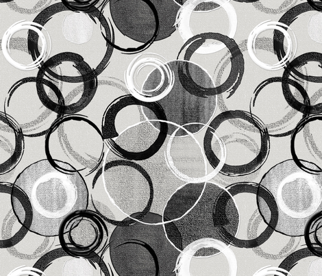 Painted Circles on Canvas Black and White Abstract fabric by j9design on Spoonflower - custom fabric