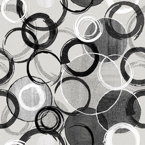 Painted Circles on Canvas Black and White Abstract