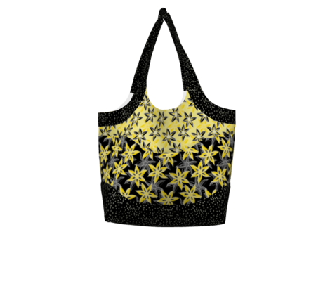 Love Blooms in Sunshine (#11) - Daffodil Yellow on Black with Icy Cream - Medium Scale