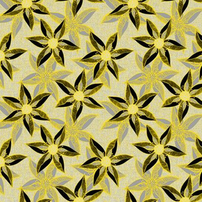 Love Blooms in Sunshine (# 12) - Mystic Grey on Silver Mist Linen Texture with Daffodil Yellow and Deep Black - Small Scale