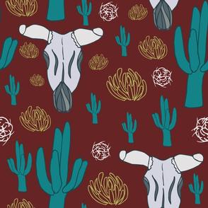 Southwest Skulls Cacti Tumbleweeds Red and Turquoise