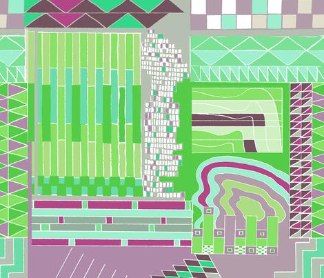 green bauhaus  fabric by claireybean on Spoonflower - custom fabric