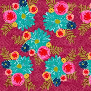 Floral bouquet-Maroon