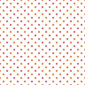 polkadots weiß neon pink orange