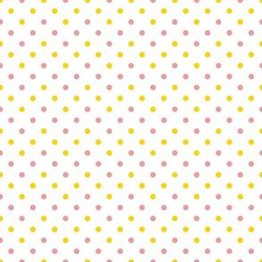 polkadots weiß gelb lila