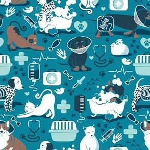 Small scale // VET medicine happy and healthy friends // turquoise background aqua details navy blue white and brown cats dogs and other animals
