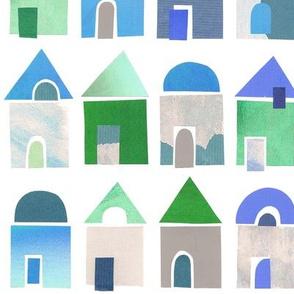 Small houses papercut art blue