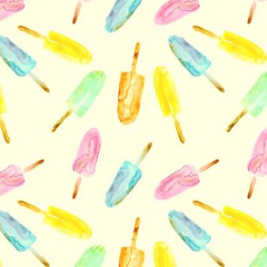 Watercolor popsicles on cream || ice cream pattern