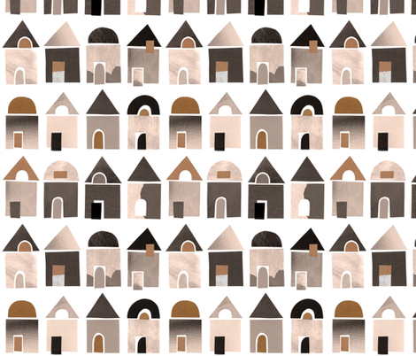 Paper houses nature tone fabric by revista on Spoonflower - custom fabric