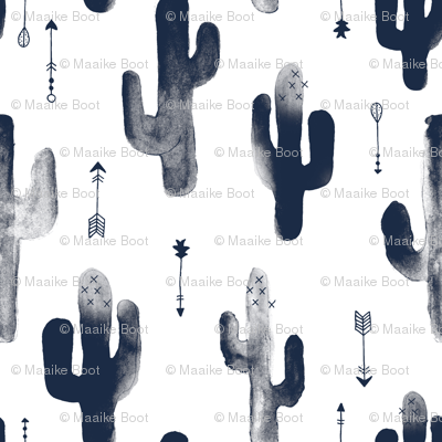 Navy Blue watercolors ink cactus garden gender neutral geometric arrows cowboy theme