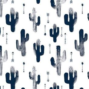 Navy Blue watercolors ink cactus garden gender neutral geometric arrows cowboy theme