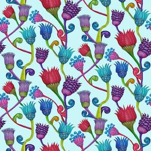 Zen Lotuses on blue background
