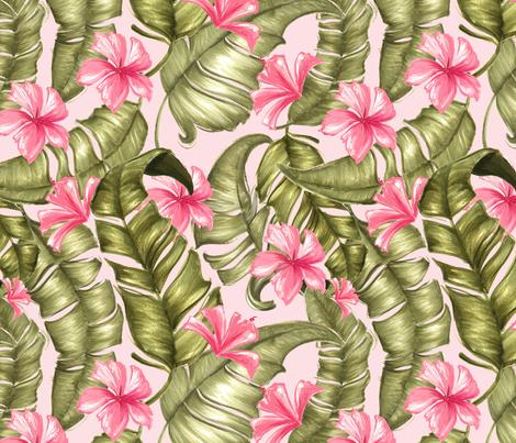 greenleaves_andflowers_pink fabric by dorinus_illustrations on Spoonflower - custom fabric