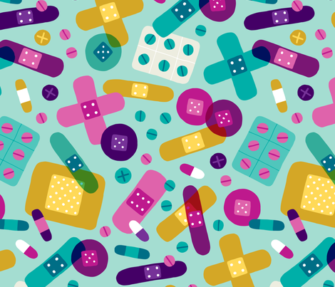 Colorful bandages and medicine (large) fabric by heleen_vd_thillart on Spoonflower - custom fabric