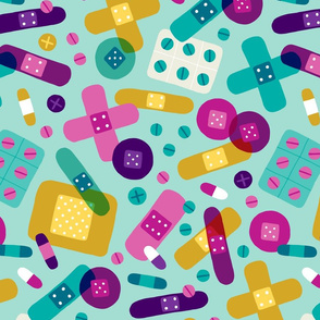 Colorful bandages and medicine (large)